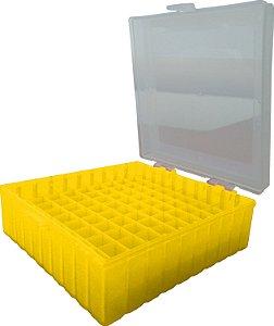 Criobox para 100 microtubos até 2 mL, tampa dobradiça, amarelo, alfa-numérico, unidade, mod.: CRIO100Y (Cralplast)