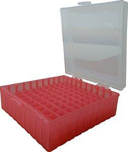 Criobox para 100 microtubos de 2 mL, tampa dobradiça, vermelho, unidade, mod.: CRIO100R (Cralplast)