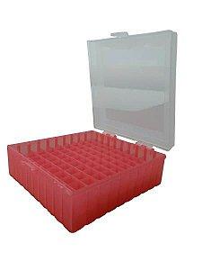 Criobox para 100 microtubos até 2 mL, tampa dobradiça, vermelho, unidade, mod.: CRIO100R (Cralplast)