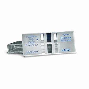 Câmara de contagem Fuchs-Rosenthal, caixa com 1 câmara e 2 lamínulas, mod.: K5-0127 (Olen)