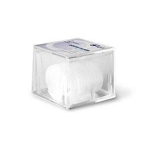 Lamínula circular 15mm, vidro translúcido super transparente, Caixa com 10 caixas plásticas com 100 unidades cada, mod.: K5-0015 (Olen)