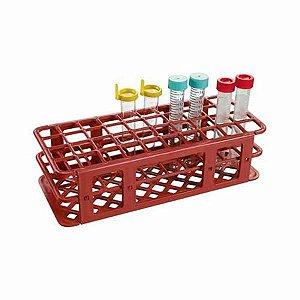 Estante tipo grade, PP, para 40 tubos de 21 mm, alfanumérica, vermelho, unidade, mod.: K30-4021R (Olen)