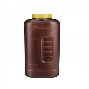 Coletor Urina 24 Horas 2 litros, Não Estéril, Frasco Âmbar e Tampa Amarela, Graduado, caixa 40 unidades, mod.: CLT24H2LA (Cralplast)
