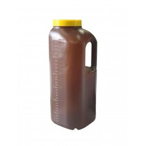 Coletor Urina 24 Horas 3 litros, Não Estéril, Frasco Âmbar e Tampa Amarela, Graduado, unidade, mod.: CLT24H3LA-UND (Cralplast)
