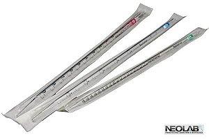 Pipeta Sorológica em plástico de 5mL, descartável, estéril, graduada 1/10, caixa com 50 unidades, mod.: NEO341-5 (Neolab)