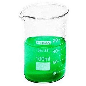 Copo Béquer Forma Alta em Borossilicato de 100 mL, unidade, mod.: 1102-100 (Phox)