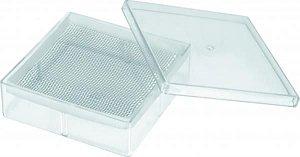 Gerbox com tampa em PS Cristal, transparente, com calço, 250mL, 11x11x3,5cm, mod.: 0934-4 (J.Prolab)