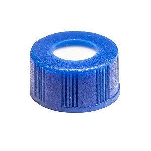 Tampa plástica de rosca 9 mm, azul, com septo em PTFE/Silicone, furo central com 6 mm, caixa com 100 unidades, mod.: BCN9 (Filtrilo)