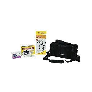 KIT Estudante: Bolsa especial + 01 Esfig. Velcro + 01 Rappaport Preto + 01 Garrote Adulto + Termômetro digital branco + Oxímetro, mod.: KITESTPPOXI (Premium)