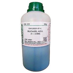 Silicagel Azul (1 a 4mm) com Indicador de Umidade P.A, CAS 63231-67-4, frasco com 500 gramas, mod.: 1911 (Dinâmica)