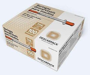 Seringa para Insulina Com Agulha Fixa 12,7x33 mm, 1 mL, caixa com 100 unidades, mod.: 342101 (Descarpack)