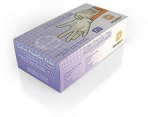 Luva Procedimento Não Cirúrgico, Não Estéril, Latéx, Sem Talco, Branca, Médio, caixa 100 unidades, mod.: 0122301 (Descarpack)