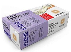 Luva Procedimento Não Cirúrgico, Não Estéril, Latéx, Sem Talco, Branca, Grande, caixa 100 unidades, mod.: 0122401 (Descarpack)