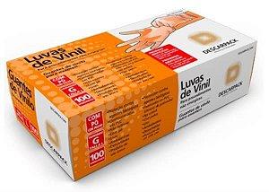 Luva de Vinil, Não Estéril, Com Talco, Grande, caixa c/100 unidades, mod.: 0541301 (Descarpack)