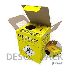Coletor Material Perfurocortante 1,5 litros, Com Desconector de Agulhas, em Papelão, caixa com 20 unidades, mod.: 0160501 (Descarpack)