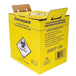 Coletor Material Perfurocortante 20,0 litros, em Papelão, caixa com 20 unidades, mod.: 0160401 (Descarpack)
