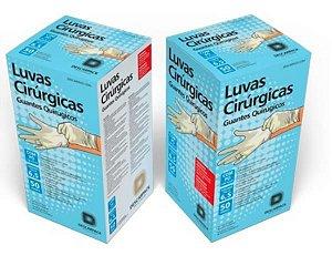 Luva Procedimento Cirúrgico, Estéril, Latéx, Pó Bioabsorvível, Branca, tamanho 7,5, Caixa com 50 pares, mod.: 0084301 (Descarpack)