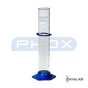 Proveta em Borossilicato de 1.000 mL, Base Plástico e Sem Rolha, unidade, mod.: 1601HP-1000 (Phox)