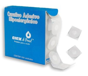 Curativo para coleta de Sangue Blood Stopper, anti-séptico, branco, caixa com 500 unidades, mod.: BANDADEBCA0236 (Ciex)