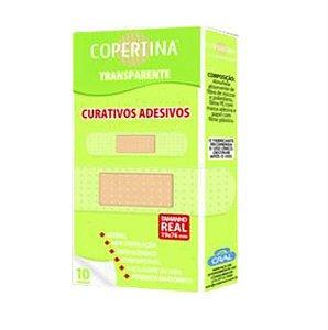 Curativo adesivo transparente, hipoalergenico, estéril, tamanho 19x76mm, caixa com 10 unidades, mod.: COPE10T (Copertina)