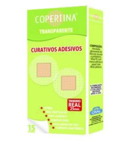 Curativo adesivo transparente, hipoalergenico, estéril, tamanho 25mm diâmetro, caixa com 180 unidades, mod.: COPE15T-CXE (Copertina)