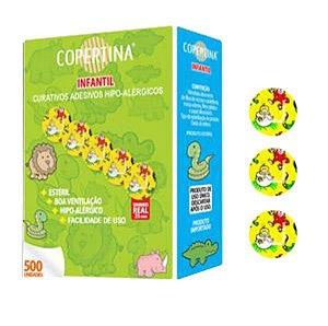 Curativo adesivo infantil sensível, estéril, hipoalérgico, diâmetro de 25mm, caixa com 500 unidades, mod.: COPE500I (Copertina)
