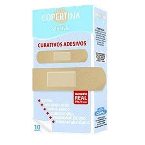 Curativo adesivo sensível, retangular, estéril, tamanho 19x76mm, caixa com 10 unidades, mod.: COPE10S (Copertina)