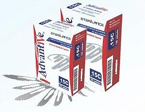 Lâmina de Bisturi nº 22, Aço Carbono, Estéril caixa com 100 unidades, mod.: LAMBI22C004 (Advantive)