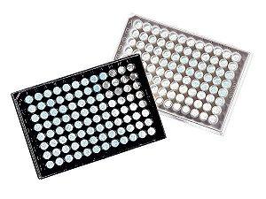 Microplaca 96 poços, Preta, PS, fundo transparente, com tampa, tratada, estéril, caixa com 48 unidades, mod.: 3603 (Corning)