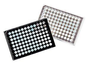Microplaca 96 poços, Branca, PS, fundo transparente, com tampa, estéril, caixa com 100 unidades. mod.: 3903 (Corning)