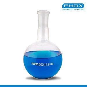 Balão Fundo Redondo em Borossilicato de 2.000 mL, com Junta 24/40, unidade, mod.: 5008-2000 (Phox)