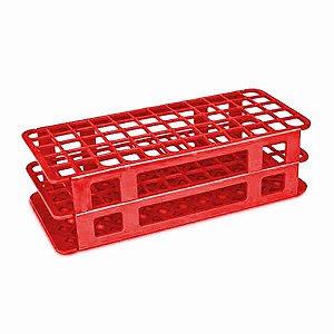 Estante tipo Grade em PP, 40 furos para tubos de 20 mm, vermelha, autoclavável, unidade, mod.: 187081 (Cralplast)