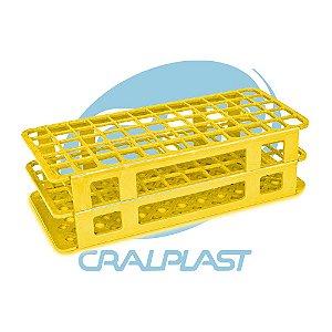 Estante tipo grade em PP, 40 furos para tubos de 20 mm, amarela, autoclavável, unidade, mod.: 187083 (Cralplast)
