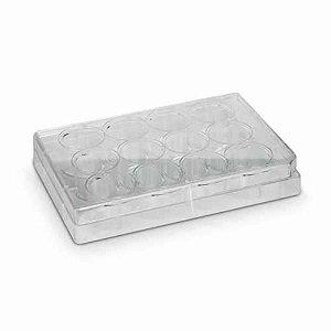 Microplaca para Cultivo Celular em PS, 12poços, fundo chato, borda elevada, com tampa, estéril, mod.: K12-012 (Kasvi)