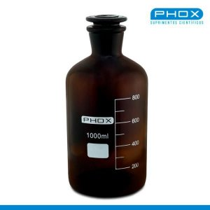Frasco Reagente de 1.000 mL, com Boca Estreita e Esmirilhada e Rolha de Vidro, Âmbar, unidade, mod.: 1402-1000 (Phox)