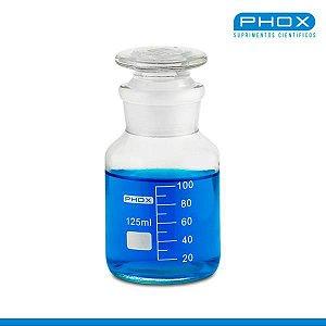 Frasco Reagente de 125 mL, com Boca Larga e Esmirilhada e Rolha de Vidro, Incolor, unidade, mod.: 1403-125 (Phox)