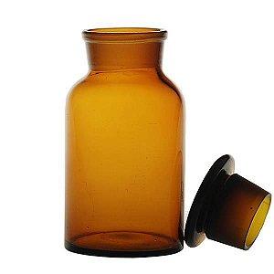 Frasco Reagente de 1000ml, com boca larga e tampa de vidro, âmbar, unidade, mod.: VQA1404.1000 (Qualividros)