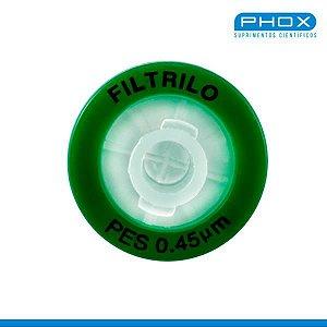 Filtro seringa PES Hidrofílico de 0,45μm x 13 mm (P x D), Caixa com 100 unidades, mod.: SFPES-1345 (Filtrilo)