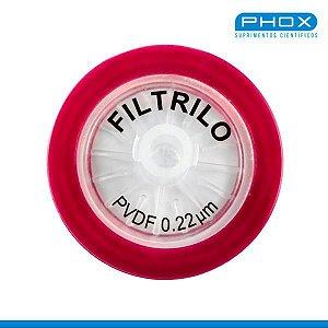 Filtro seringa PVDF - Hidrofóbico de 0,22μm x 25 mm (P x D), caixa c/100 unidades, mod.: SFPVDF-2522 (Filtrilo)