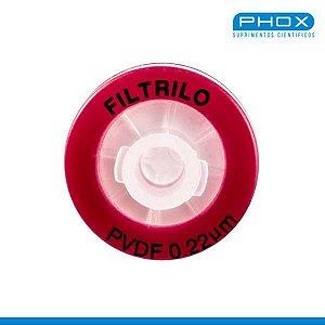 Filtro seringa PVDF - Hidrofóbico de 0,22μm x 13 mm (P x D), caixa c/100 unidades, mod.: SFPVDF-1322 (FILTRILO)