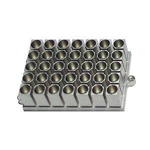 Bloco para 35 Microtubos de 1,5 mL, compatível com os Banhos Seco K80-100 e K80-200, mod.: K80-3515 (Kasvi)