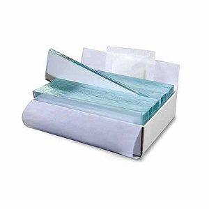 Lâmina para microscopia, tamanho 26x76 mm, ponta lisa, lapidada, Caixa externa com 50 caixas, cada uma com 50 unidades, mod.: K5-7101 (Olen)