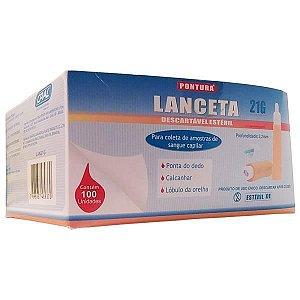 Lanceta de Segurança Descartável, Estéril, Calibri 21 G, Caixa c/ 100 unidades, mod.: LAN21G (Pontura)
