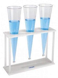 Suporte para Copo de Sedimentação (Cone de Imhoff), Confeccionado em Polipropileno, capacidade de 3 peças, mod.: 2806-2 (J.Prolab)