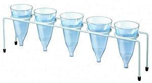 Suporte para Copo de Sedimentação (Cone de Imhoff), Confeccionado em Ferro Plastificado, capacidade de 5 peças, mod.: 0430-1 (J.Prolab)