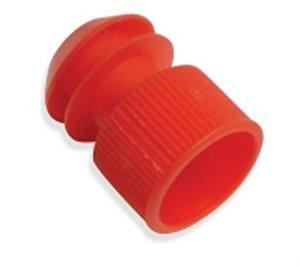 Tampas para Tubo de Ensaio 12x75 mm, em Polietileno, Vermelha, pacote com 1000 unidades, mod.: 1548-0 (J.Prolab)