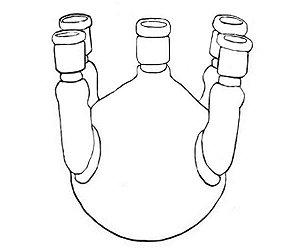 Balão fundo redondo com 5 juntas esmerilhadas, sendo central 45/50 e laterais angulares 24/40, 20 litros, mod.: 76164F20000 (Vidrolabor)