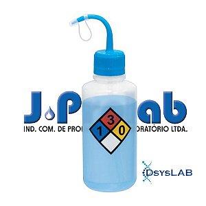 Pisseta com Classificação de Risco - Água Destilada, Graduada em Silk Screen, Polietileno, Capacidade de 500 mL, mod. 0407-3 (J.Prolab)