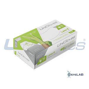 Luva Procedimento Não Cirúrgico, Não Estéril, Látex 100% natural, Sem Talco, Verde, Extra Pequeno, caixa c/100 unidades, mod.: LANO-E-EP (Unigloves)