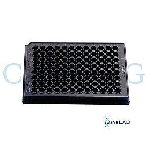 Microplaca 96 poços, Poliestireno, Fundo Plano Preto, não tratada, sem tampa, não estéril, caixa com 100 unidades mod.: 3915 (Corning)